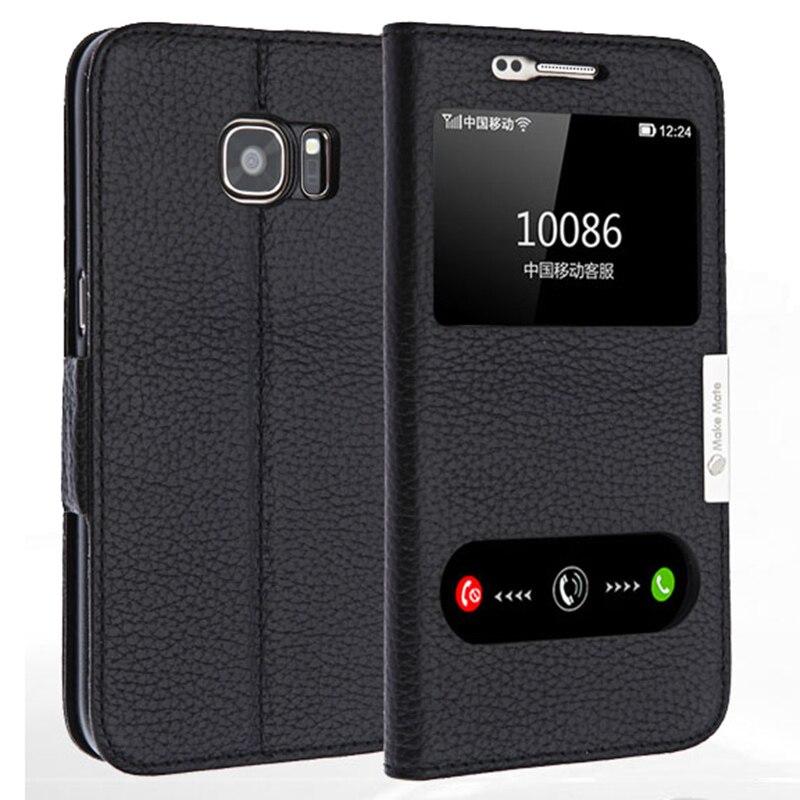 imágenes para Para samsung caso de Lujo vista ventana s7 S7 genuino cubierta de cuero del caso del soporte para Samsung Galaxy