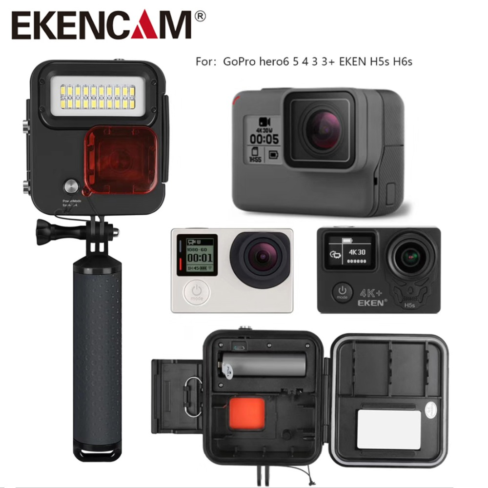 Go Pro 4 Diving LED light with waterproof housing For Gopro Hero 4 GoPro 5 6 EKEN H9Plus H6s H5s plus H7s h8 Camera Accessories
