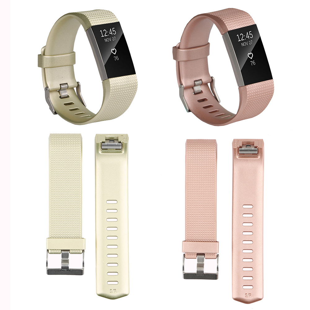 Baaletc Sports Bands For Fitbit Charge 2 Strap Soft Silicone Rose Gold Wrist Band For Fitbit Charge 2 Smart Watch Small Large