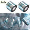 BlueZoo 1 Roll 5cm*120m Blue Nail Stickers Transfer Foil Full Cover Nail Art Stickers Silver Scenery Decals Nails Tools For Nail