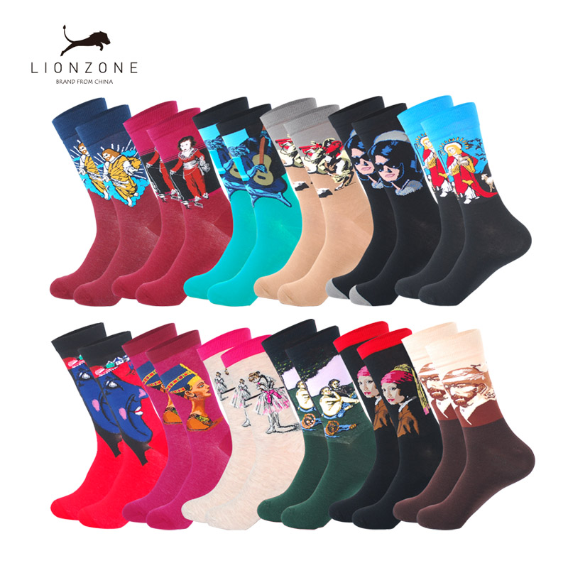 LIONZONE Mens Casual Combed Cotton Socks Napoleon Jesus Oil Painting Crew Sock US9-13 Colorful Funny Winter Happy Socks