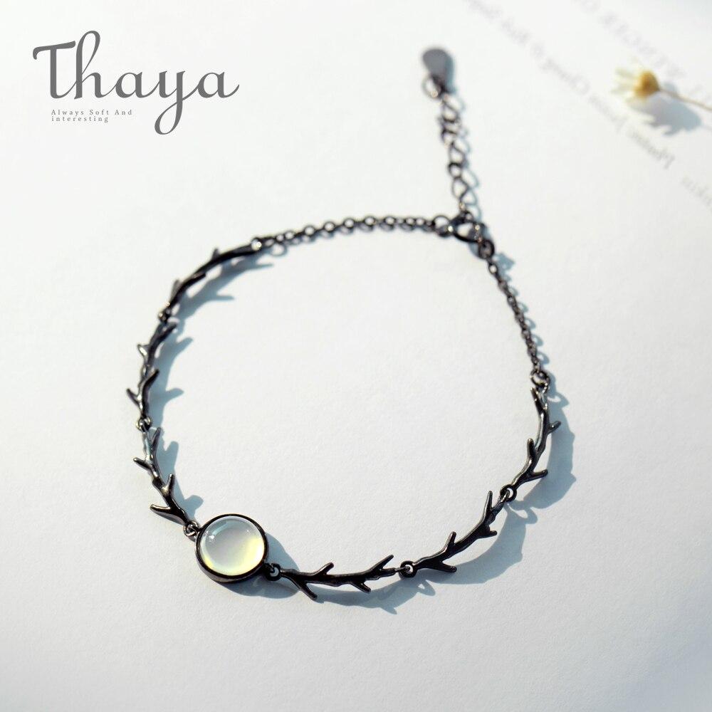 Thaya Moonlight Wald Armband S925 Silber Dämmerung Mondstein Dornen Armbänder handgemachte für Frauen Damen Schmuck Geschenk