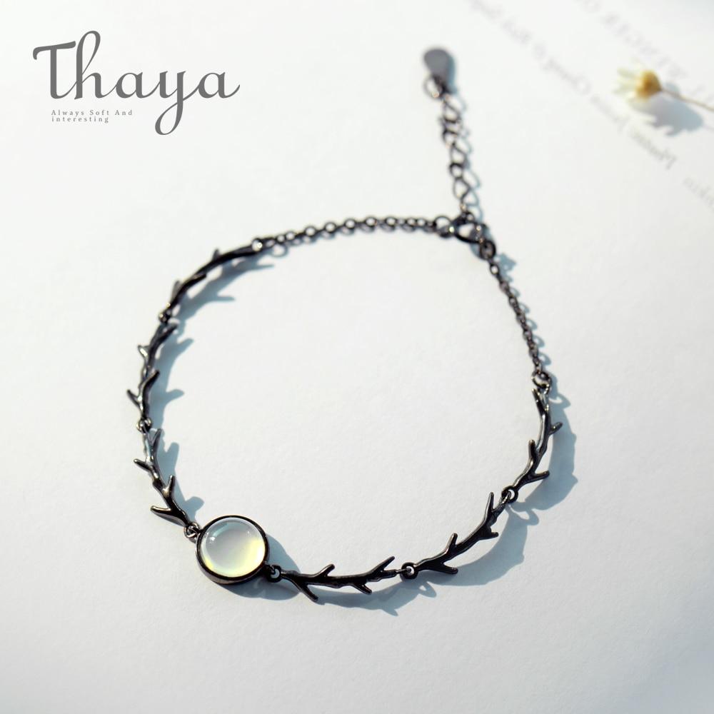 cd446de1a207 Thaya piedra rama pulsera s925 de Crepúsculo cadena fina de oro pulseras de  piedras preciosas hecho a mano para mujeres damas regalo de la joyería