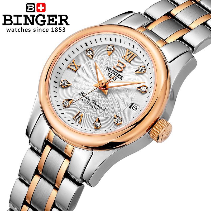 Suisse BINGER Femmes de Montres De Luxe 18 k or Mécanique horloge complet en acier inoxydable Étanche Femelle Montres B-603L-5