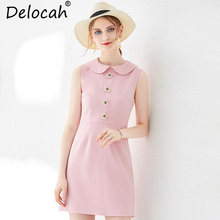 Delocah Women Summer Mini Dress Runway Fashion Peter pan Collar Button Collect Waist Elegant Casual Party Pink A-Line Dresses