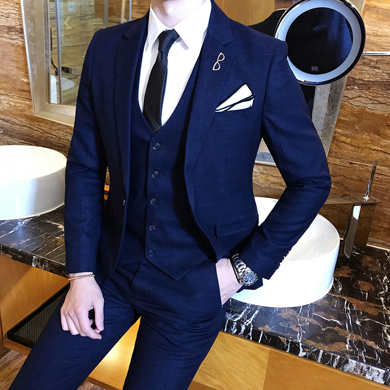 Brand Fashion Mens Suit Three-piece Black Navy Blue Men Blazer Jackets + Vests +Pants S-4XL (Jackets Can Be Sold Separately)