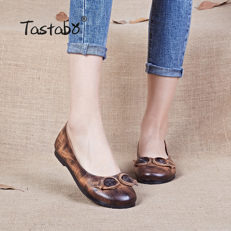 Tastabo Women Shoes Handmade Genuine Leather Soft Flats 2017 New Fashion Spring Autumn Driving Shoe Round Toe Women Flats gktinoo bow tassel loafers shoe for women handmade genuine leather soft flats autumn driving shoe round toe women flats