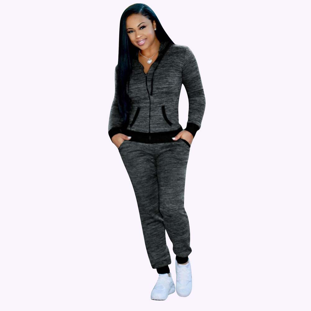 Women two piece set casual long sleeve sweatshirt and long pant suit tracksuit sweat pant clothing spring hoodies yf761