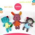 Urso coelho/cat 3 tipo de aperto de mão do bebê de pelúcia toys chocalho infantil berço cama pendurado brinquedo animal multifunções bonecas