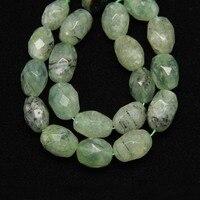 ファセットナゲット緑水晶中間ドリルビーズ用ネックレスストランド
