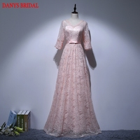Pink Long Sleeve Lace Evening Dresses Party Women A Line Beaded Prom Dress Formal Evening Gowns