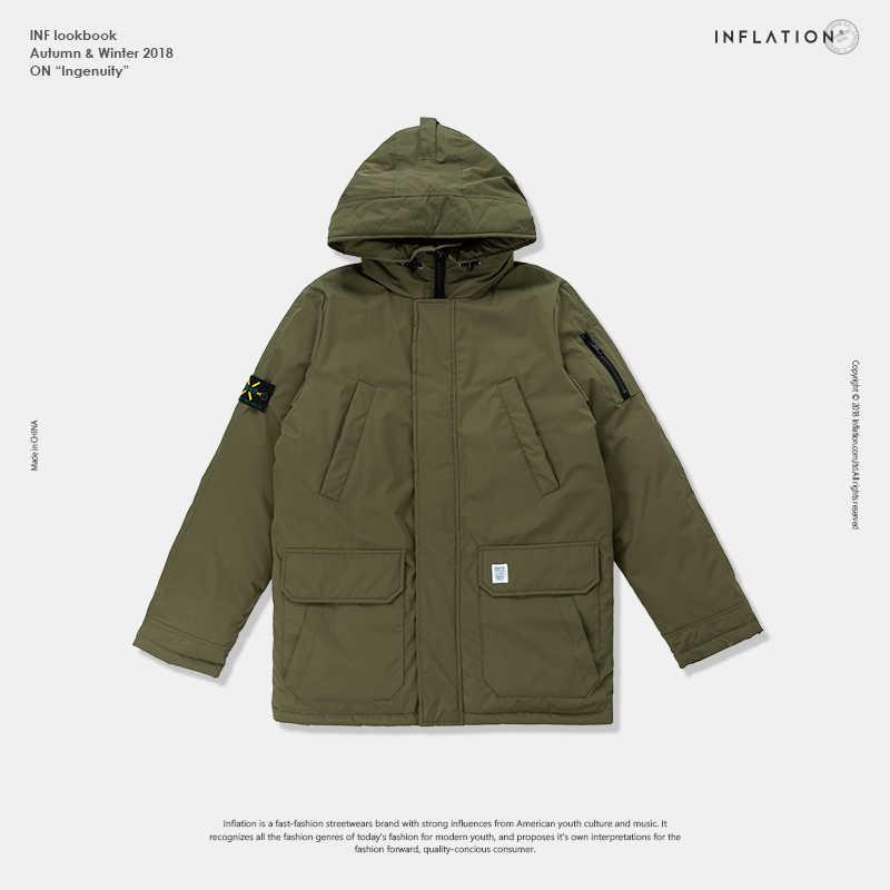 Инфляция длинный пуховик Мужская зимняя куртка модная зимняя теплая белая утка толстый пуховик с капюшоном зимняя верхняя одежда новая 8765 Вт
