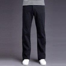 2016 New Brand Mens High Waist Fleece Lined Jeans Pants Men Winter Warm Velvet Thick Black Denim Jeans Flared Bottom Jeans Homme