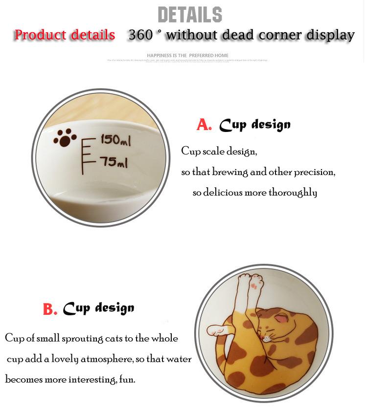 Cartoon Cute Cat Mug Cup Set Creative Milk Tea Drink Breakfast Ceramic Cups Plates Coffee Animal Cup Heat-resistant Lovely Gift (2)
