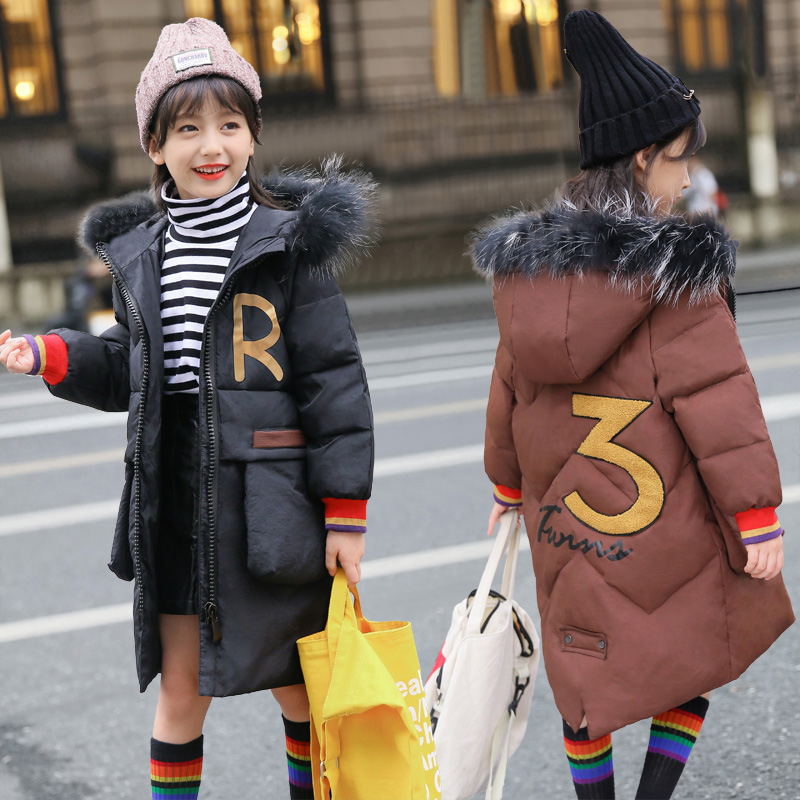 Girl Snow Wear Girls Down Jackets Coats Winter Warm Thicken Coats Thick Duck Down Kids Jacket Children's Outerwears Cold Winter new winter girls boys down jackets baby kids long sections down coats thick duck down warm jacket children outerwears 30degree