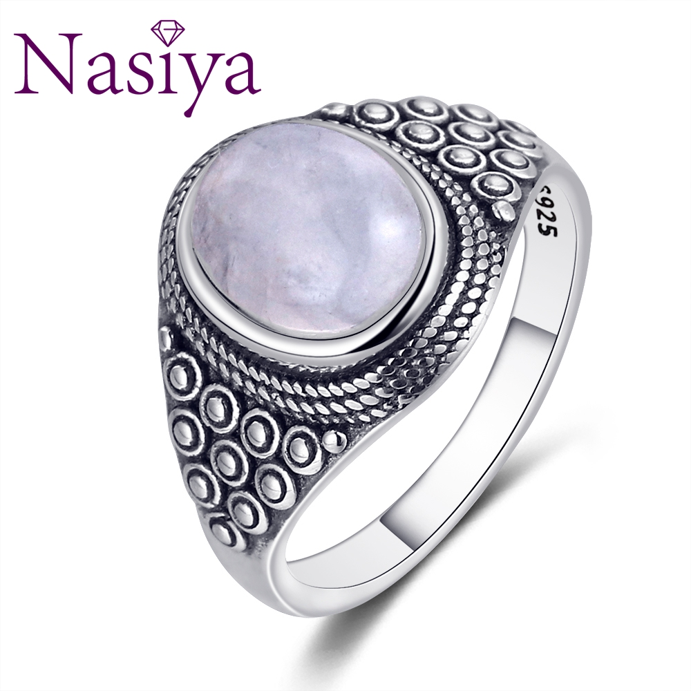 Nasiya Punk Oval Natural Moonstone Rings For Women 925 Silver Gemstone Moonstone Jewelry For Women Party Birthday Gift Daily