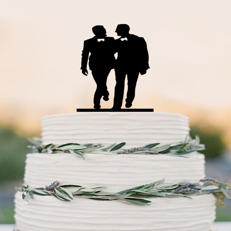 Well-known Gay silhouette Homosexual Wedding Cake Topper For Men Gift Gay  ET33