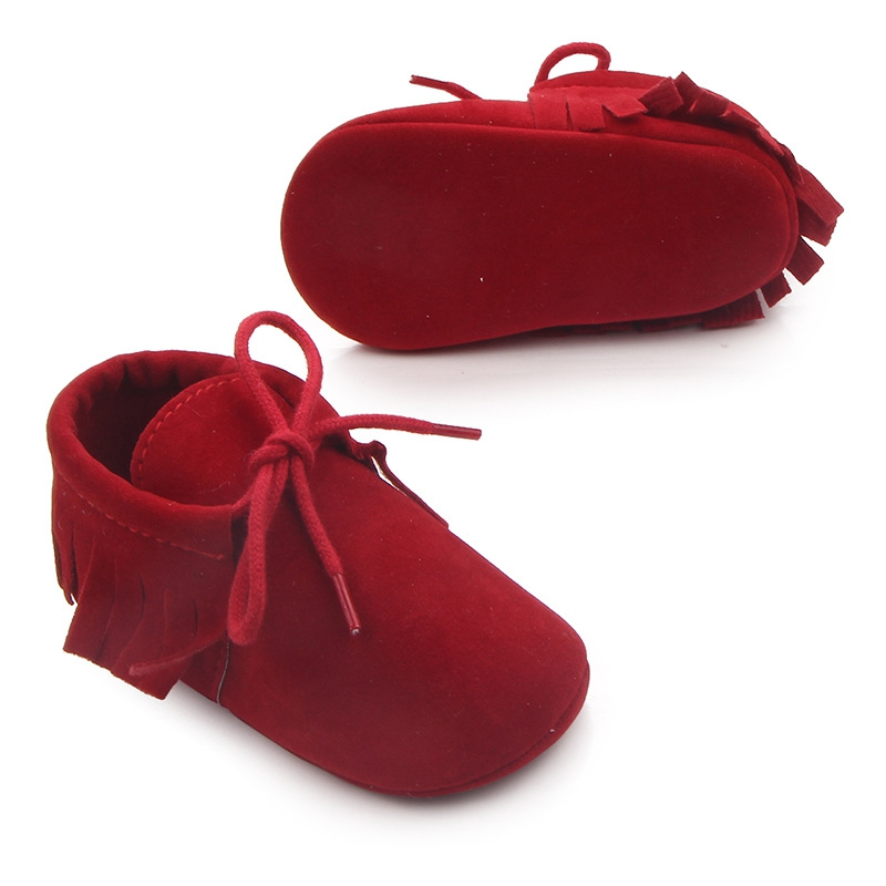 Spring Baby Boys Girls Shoes Moccasins Soft Soled Shoes Fringe Non-slip Footwear PU Suede Leather Crib Shoes First Walkers