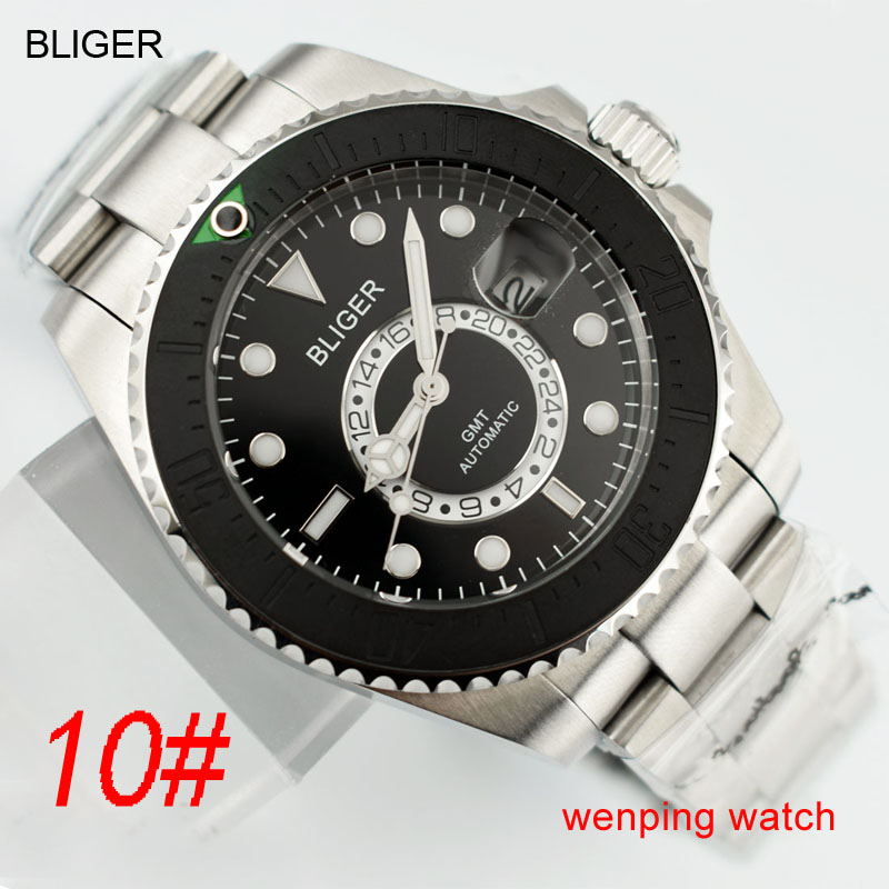 1 pcs E2417 BLIGER 43mm Ceramic black steel strap GMT Functional watch automatic mens Wristwatch