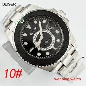 Image 1 - 1 шт. E2417 BLIGER 43 мм керамический черный стальной ремешок GMT функциональные часы автоматические мужские наручные часы