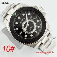 1 pcs E2417 BLIGER 43 มม.สายคล้องเหล็กสีดำ GMT นาฬิกาอเนกประสงค์อัตโนมัตินาฬิกาข้อมือบุรุษ