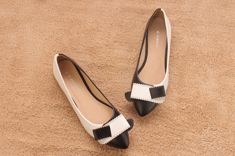 Plus size 33-43 Fashion Women Flats Heels 3Colors Patchwork Bowtie British Style Casual Single Shoes  -  I'm with you store