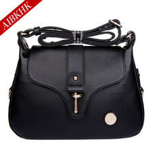 AIBKHK Women's Genuine Leather Handbag Two Ply Cow Leather Fashion Messenger Bag Cross-body Bag Gift for Mother M025