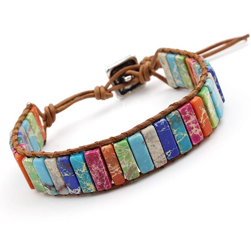 VILLWICE Handmade Chakra Bracelet Multi Color Natural Stone Tube Beads Leather Wrap Couples Bracelets Creative Jewelry Gifts(China)