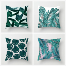 Fuwatacchi Tropical Print Cushion Cover Plant Green Leaf Throw Pillows for Home Sofa Chair Decorative 45*45cm