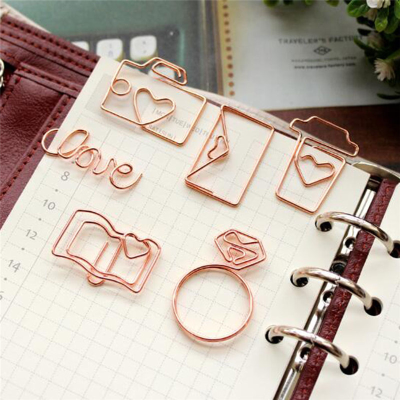 4 PCS/Lot  Various  Shape  Rose  Gold  Metal  Paper  Clips Bookmark Tools  Memo Clip School And Office Supplies
