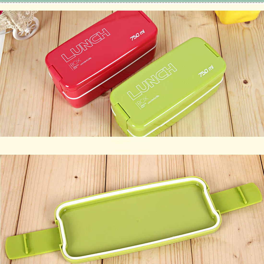 Hot 2Colors 750ml Double Layers Portable Microwave Lunch Storage  Eco-Friendly Bento Box Food Containers Storage box