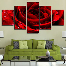 Modular HD Prints Posters Home Decor Canvas Pictures Framework 5 Pieces Beautiful Red Rose Flower Paintings Living Room Wall Art(China)