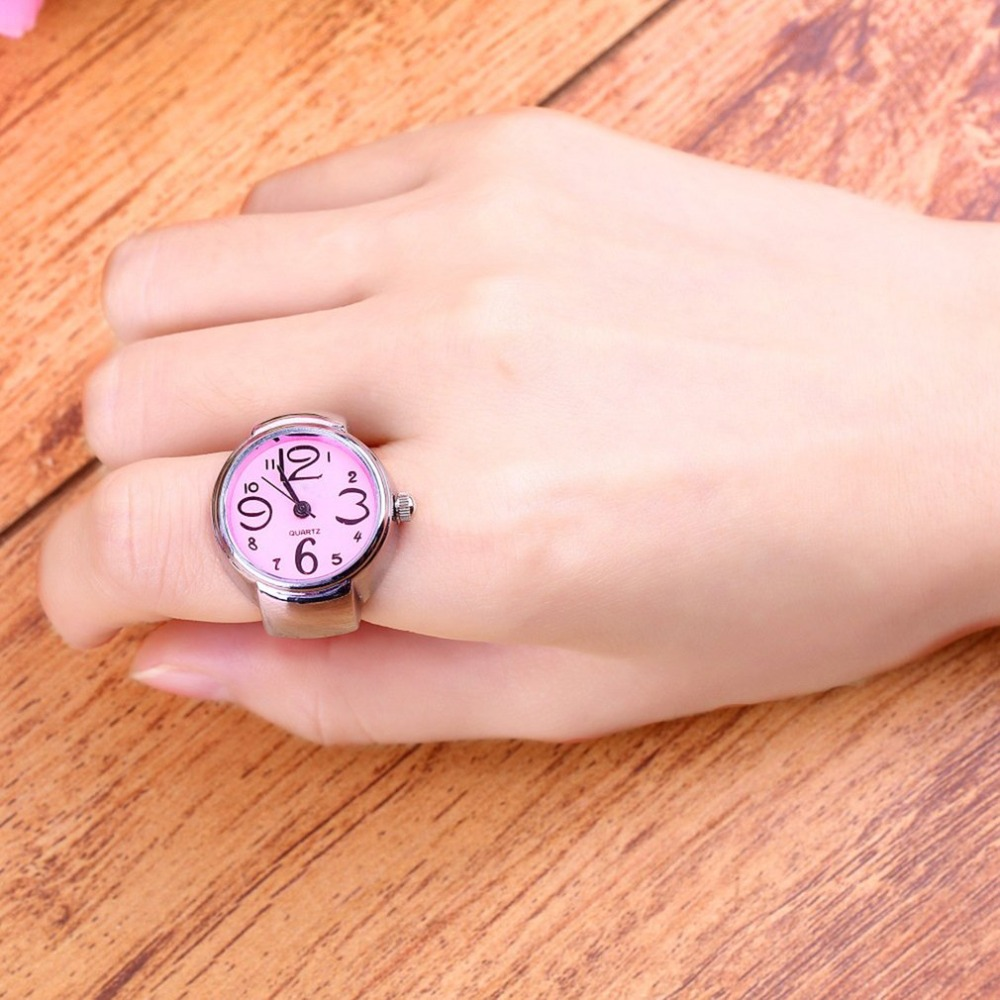 1pcs Jewelry Creative Fashion Steel Round Elastic Quartz Finger Ring Watch Lady Girl Christmas gift Wholesale Top Quality