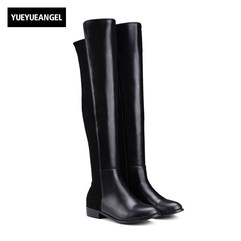 2017 Autumn New Fashion Womens Over Knee Boots Pointed Toe Wedding Shoes Slip On Block Chunky Heel Sexy Botines Mujer Plus Size new 2017 spring summer women shoes pointed toe high quality brand fashion womens flats ladies plus size 41 sweet flock t179