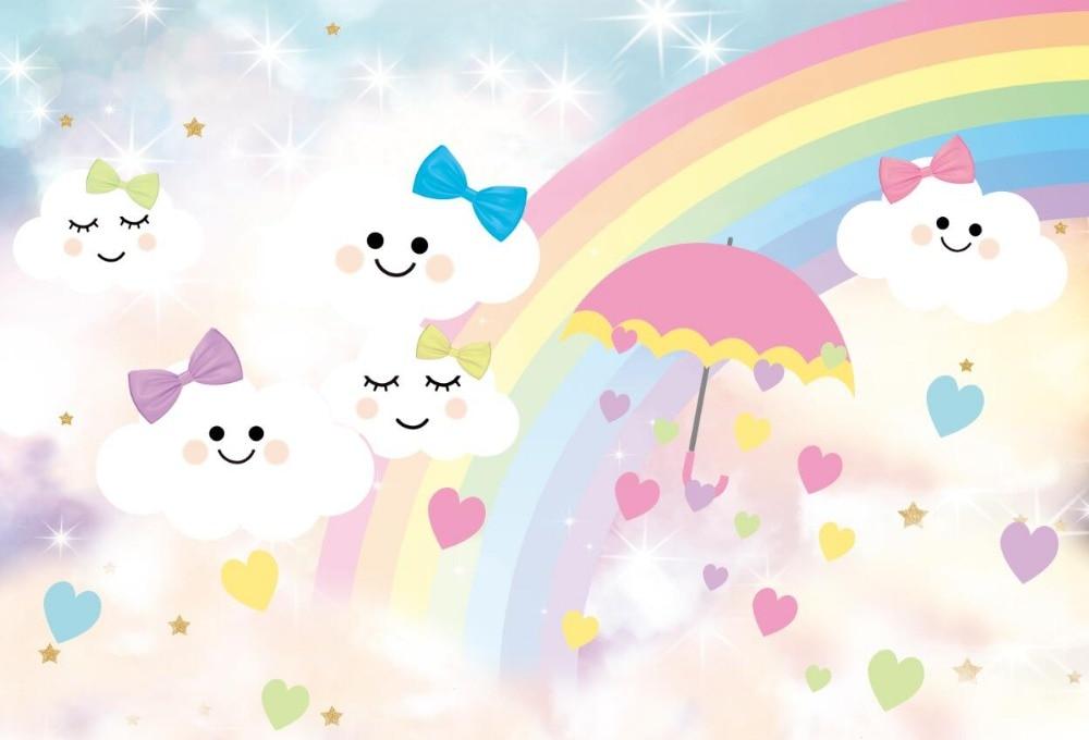 US $10 99 16% OFF|7x5FT Rainbow Sky Emoji Smile Clouds Face Umbrella Love  Heart Bow Custom Photo Studio Backdrop Background Vinyl 220cm x 150cm-in