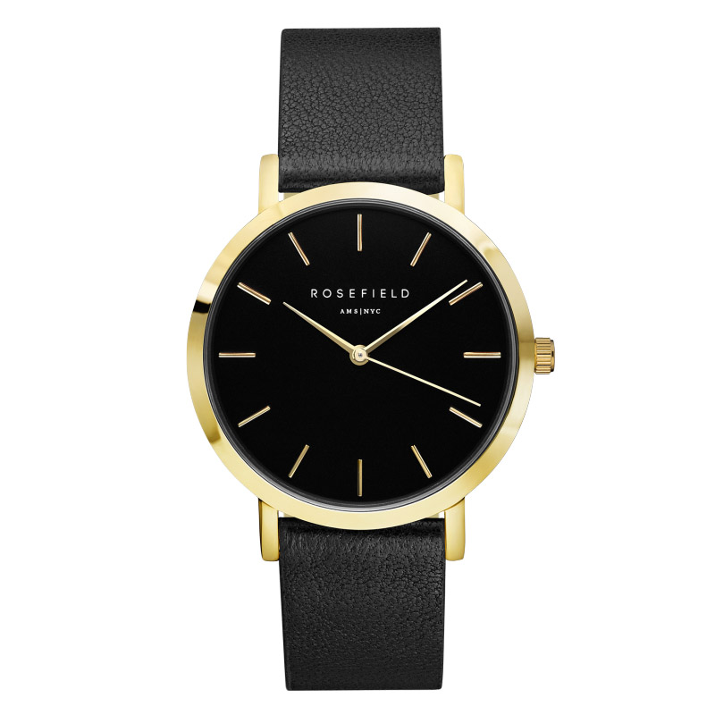 Ladies Ultra-Thin Watch - gold - black face - black leather strap