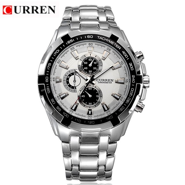 aliexpress com buy curren brand men s watches fashion casual curren brand men s watches fashion casual full steel sports watches relogio masculino business quartz wristwatch