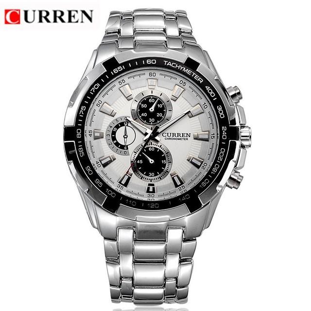 Curren hombres de la marca de relojes moda Casual completas de acero relojes deportivos relógio negocio Masculino cuarzo de japón del reloj