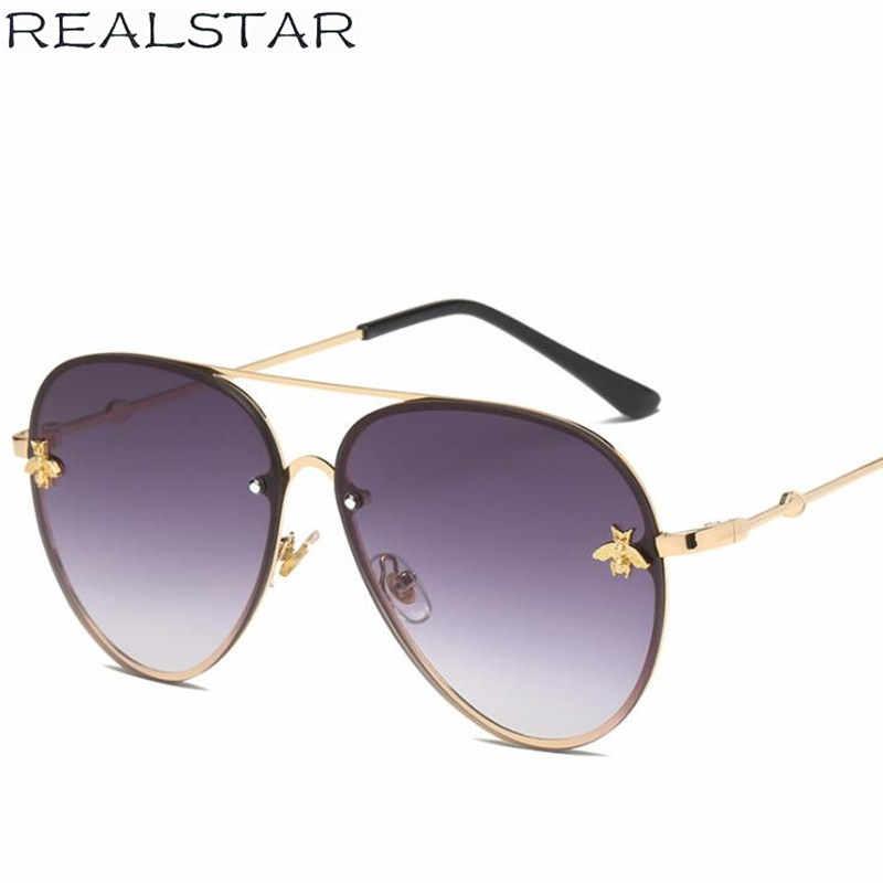 REALSTAR 2018 Luxury Bee Metal Sunglasses Women Brand Designer Rimless Frame Pilot Fashion Glasses Eyewear Female Oculos S472