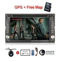 Новый универсальный автомобильный Радио двойной 2 DIN dvd-плеер автомобиля GPS навигация в тире Автомобильные ПК стерео Штатная видео + бесплатная Географические карты сабвуфер