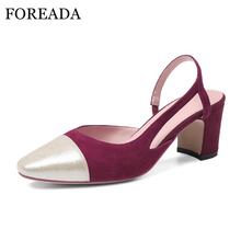 FOREADA High Heels Shoes Women Suede Leather Shoes Square Toe Genuine Leather High Heels Slingback Dress Grace Ladies Pumps