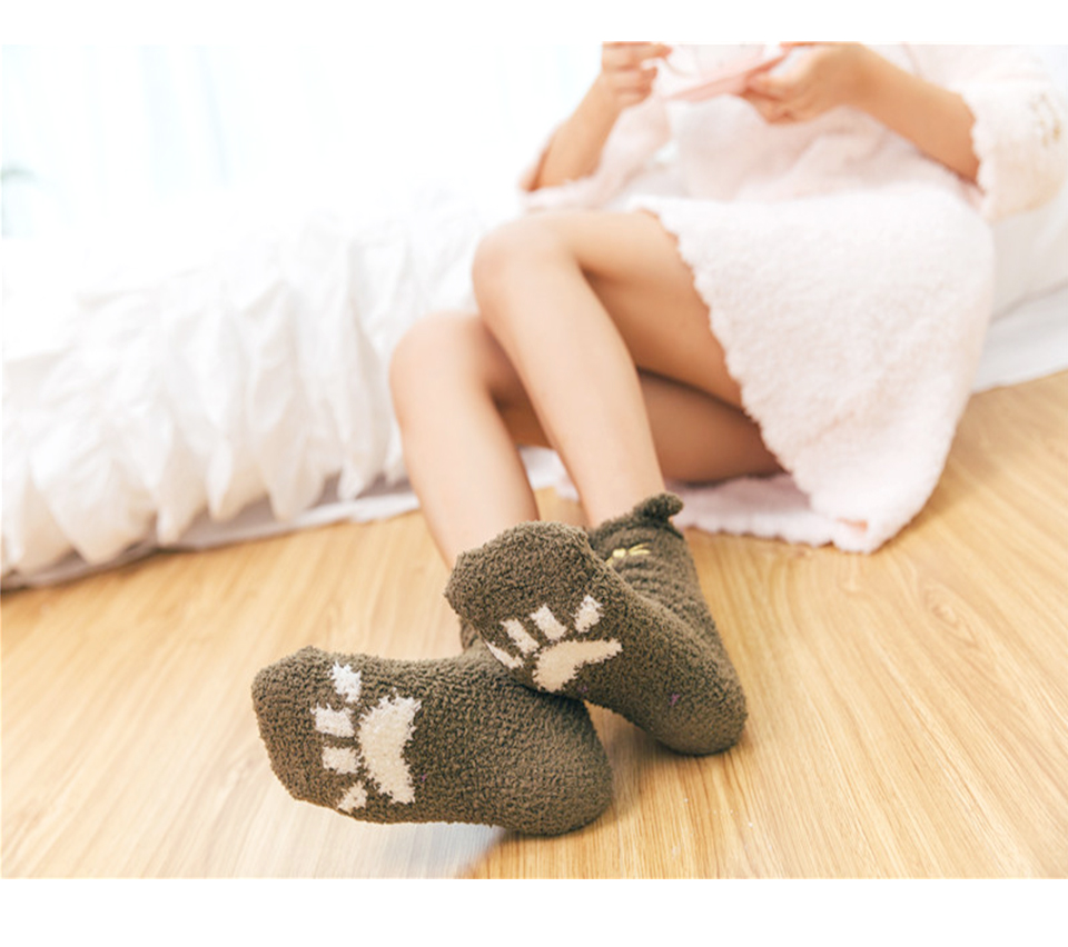 Ladies Winter Japanese Embroidery Animal Corals Velvet Stereo Ear Thick Warm BedS Bed Home Fluffy Socks Coral Velvet Foot Cover (15)