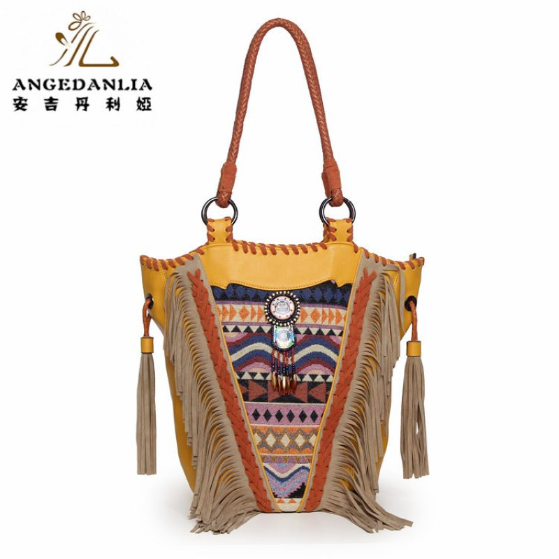 Women cambric fabric handbag long trapeze Bohemian telas hippies shoulder bag tassels national embroidery ethnic shoulder bags 2016 summer national ethnic style embroidery bohemia design tassel beads lady s handbag meessenger bohemian shoulder bag page 2
