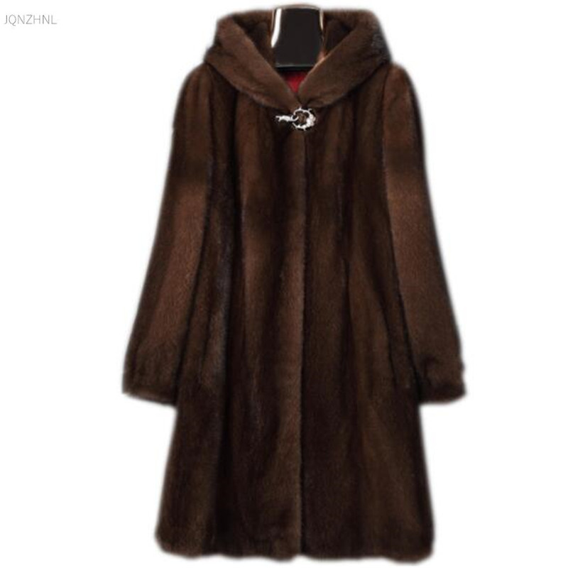 New middle aged fur coat autumn winter large size women hooded elegant high end imitation faux