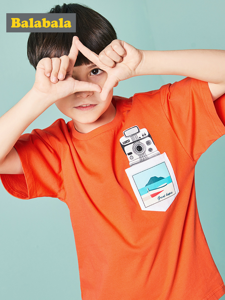 Balabala Tshirts Short-Sleeve Animal Printed Baby Boys Cotton Cartoon Fashion Soft Casual