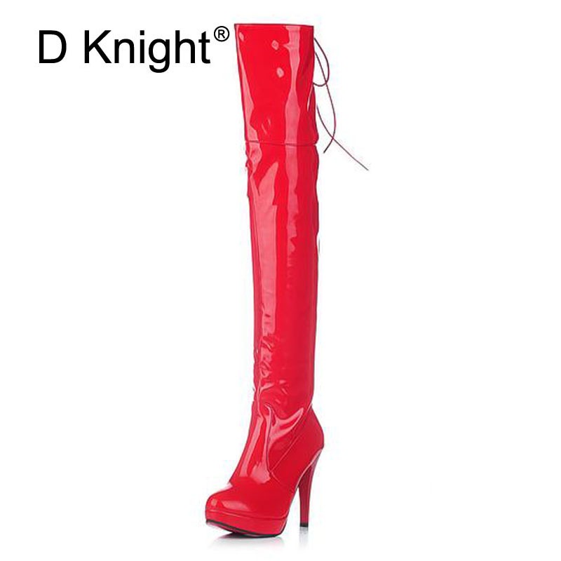 Sexy Patent Leather Thin Heels Women Over The Knee Boots Ladies Platform High Heels Pole Dancing Boots Women Thigh High Boots women long boots stretch pu red black patent leather over the knee high sexy ladies party high heels platform shoes page 2