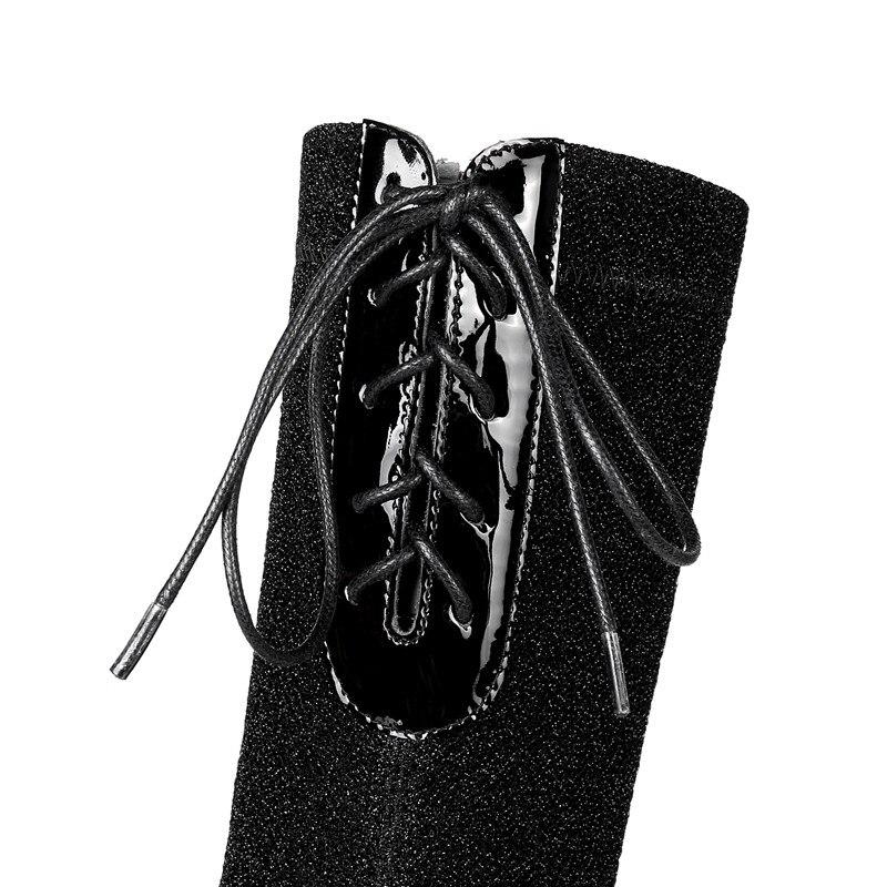 Cuir Pointu Talons Genou Femme blue Haute Microfibre Croix Bout Bottes Vache Le Liée Automne Sur En Mode Hiver Chaussures Noir Asumer wPxqXnzp6U