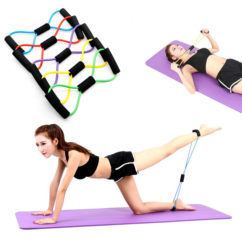 8 Shaped Resistance Bands Elastic Tension Durable Rope Chest Expander Sport Yoga Fitness Pilates Belt Body Shape Health Care