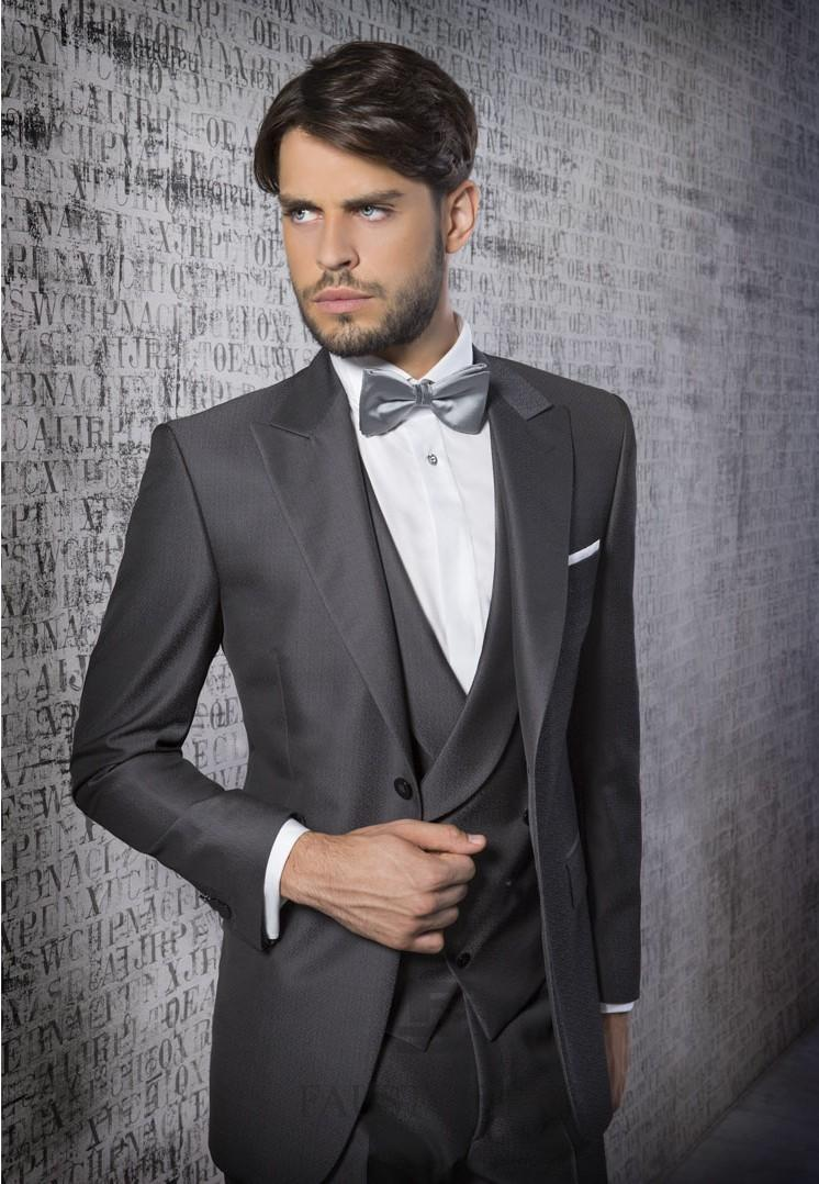 Dark Grey Mens Suits Peaked Lapel Tuxedos Groomsmen Suits one ...