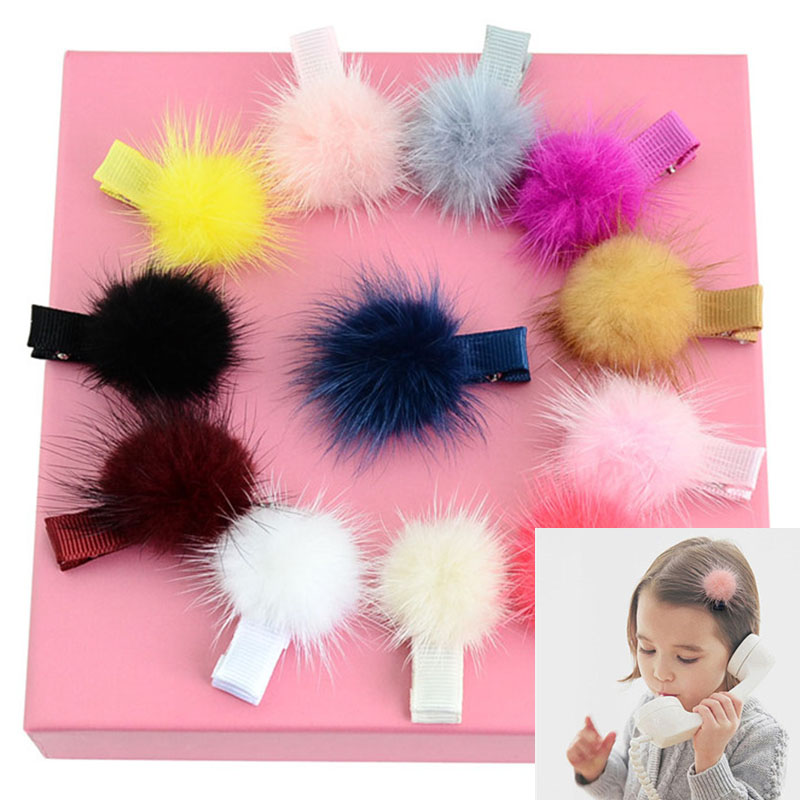 Girls Hairpins With Small Lovely Soft Fur Pompom Mini Ball Gripper Hairball Pom Hairclips Children Hair Clip Hair Accessories